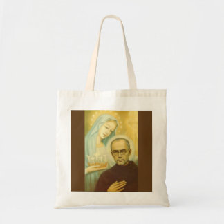 St. Maximillian Kolbe with Virgin Mary & Crown Tote Bag