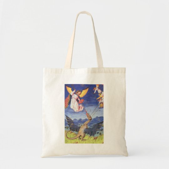 St. Michael and Dragon Tote Bag Midieval Archangel