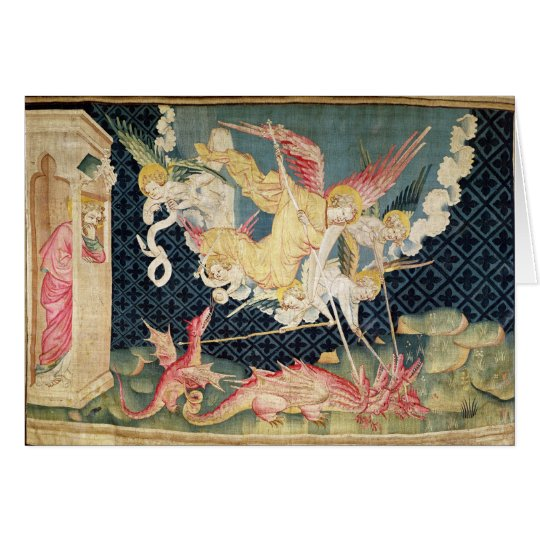St. Michael and his angels fighting the dragon Card