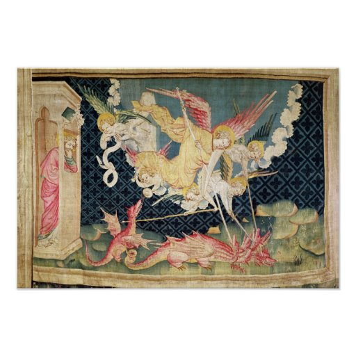 St. Michael and his angels fighting the dragon Poster