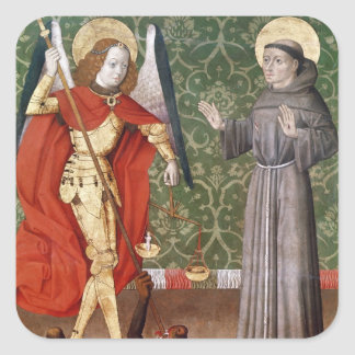 St. Michael and St. Francis of Assisi, c.1480 Square Sticker