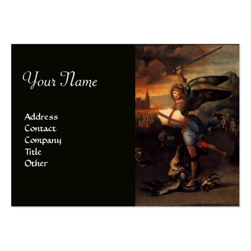 St Michael and the Dragon ,black Business Card Templates