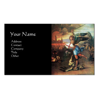 St Michael and the Dragon ,black Double-Sided Standard Business Cards (Pack Of 100)