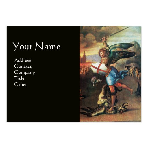 St Michael and the Dragon ,black Business Card Template