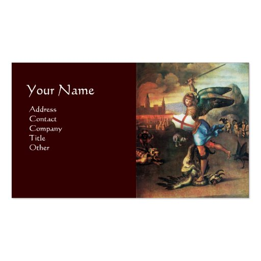 St Michael and the Dragon ,brown Business Card Templates