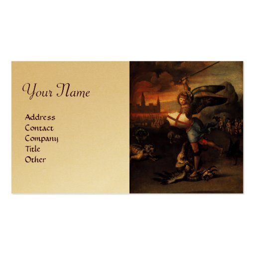 St Michael and the Dragon ,brown gold metallic Business Card Template