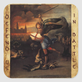 St Michael and the Dragon ,Brown Parchment Square Sticker
