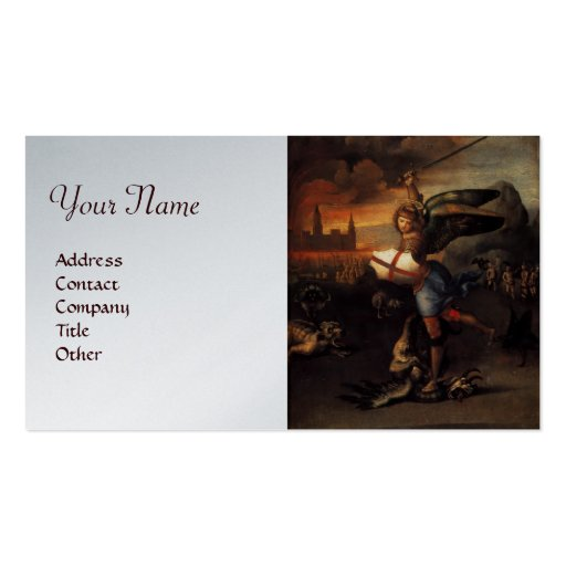 St Michael and the Dragon ,brown platinum metallic Business Card