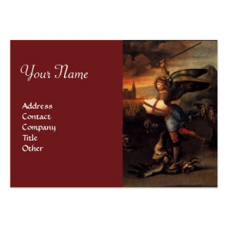 St Michael and the Dragon , monogram red Large Business Cards (Pack Of 100)