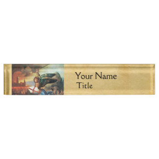 St Michael and the Dragon Parchment Nameplate