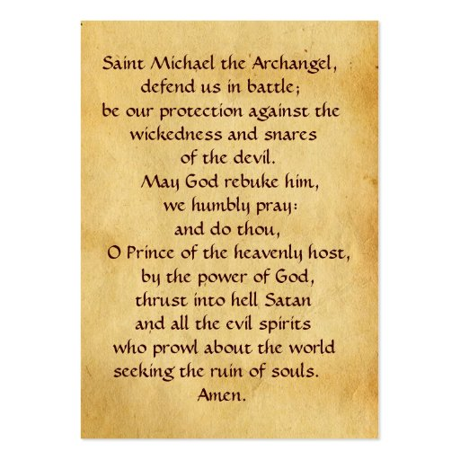 St Michael and the Dragon  Prayer Card Business Card
