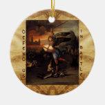 St Michael and the Dragon Prayer Christmas Ornament