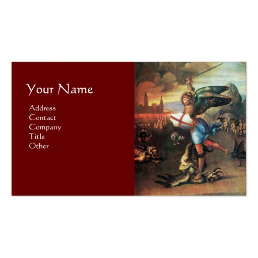 St Michael and the Dragon ,red Business Card Templates