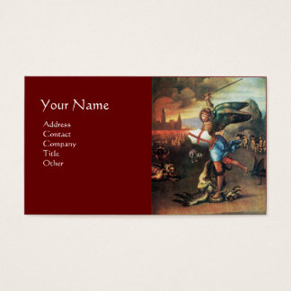 St Michael and the Dragon ,red Business Card