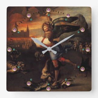 St Michael and the Dragon Square Wall Clock