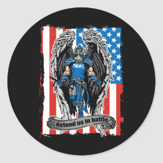 St. Michael Angel Defend Us in Battle Classic Round Sticker
