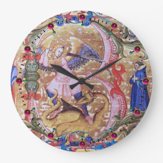 St. Michael Archangel And Dragon Antique Floral Large Clock
