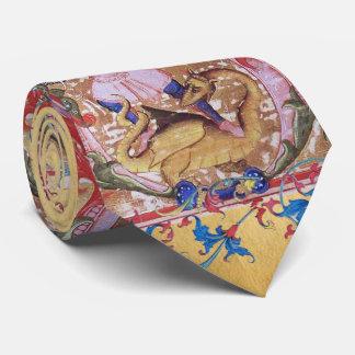 St. Michael Archangel And Dragon Antique Floral Neck Tie