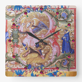 St. Michael Archangel And Dragon Antique Floral Square Wall Clock