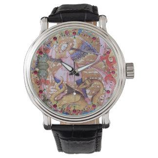 St. Michael Archangel And Dragon Antique Floral Wrist Watch