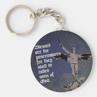St. Michael Archangel - Sheriff Star Deputy Basic Round Button Keychain