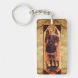 ST MICHAEL ARCHANGEL WITH DRAGON Prayer Parchment Acrylic Key Chain
