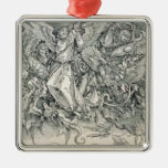 St. Michael Battling with the Dragon Square Metal Christmas Ornament