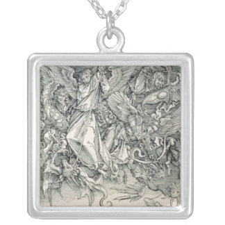 St. Michael Battling with the Dragon Square Pendant Necklace