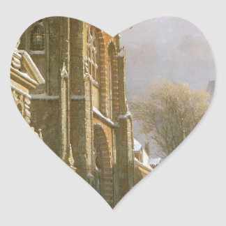 St. Michael Church in Zwolle by Cornelis Springer Heart Sticker