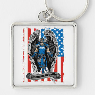 St. Michael Defend Us in Battle Police Keychain
