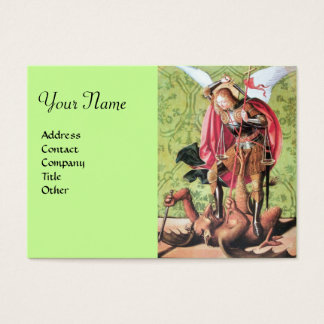 ST. MICHAEL ,DRAGON AND JUSTICE,green red brown Business Card