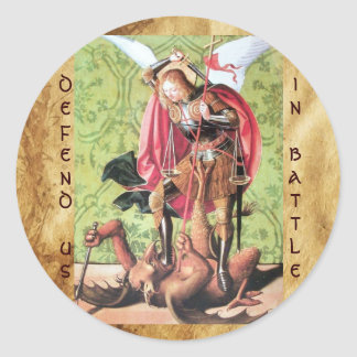 ST. MICHAEL ,DRAGON AND JUSTICE,green red brown Classic Round Sticker