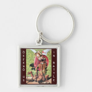ST. MICHAEL ,DRAGON AND JUSTICE,green red brown Keychain