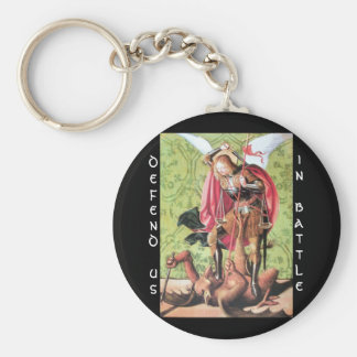ST. MICHAEL,DRAGON AND JUSTICE,Green Red Brown Keychain