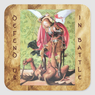 ST. MICHAEL ,DRAGON AND JUSTICE,green red brown Square Sticker