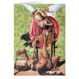 ST. MICHAEL ,DRAGON AND JUSTICE Prayer Greeting Card