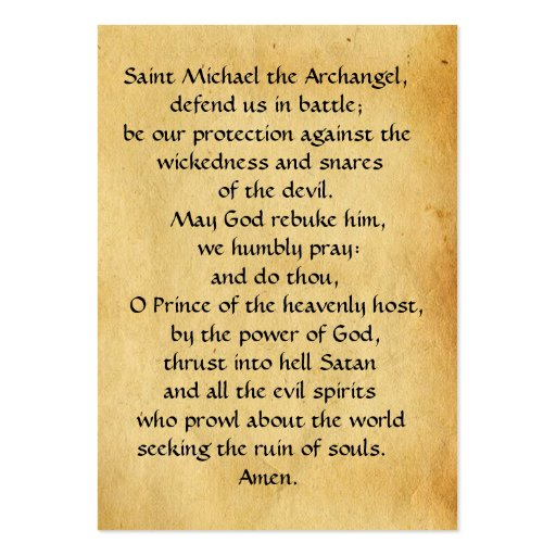 ST. MICHAEL ,DRAGON AND JUSTICE Prayer Card Business Card Templates