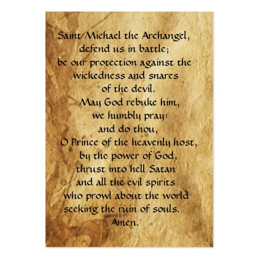 ST. MICHAEL ,DRAGON AND JUSTICE Prayer Card Business Card Template