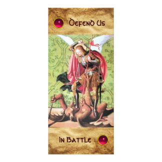 ST. MICHAEL ,DRAGON AND JUSTICE Prayer Card Full Color Rack Card