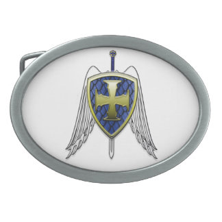 St Michael - Dragon Scale Shield Oval Belt Buckle