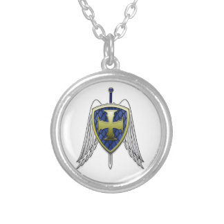 St Michael - Dragon Scale Shield Silver Plated Necklace