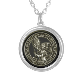 St Michael Emblem Silver Plated Necklace