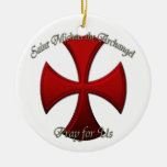 St Michael - Iron Cross Double-Sided Ceramic Round Christmas Ornament