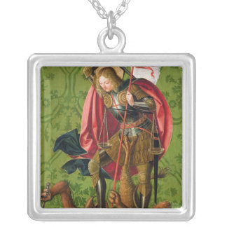 St. Michael Killing the Dragon Silver Plated Necklace