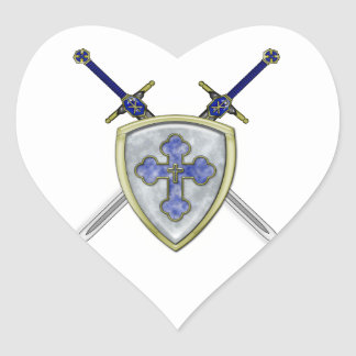 St Michael - Swords and Shield Heart Sticker