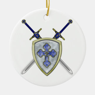 St Michael - Swords and Shield Double-Sided Ceramic Round Christmas Ornament