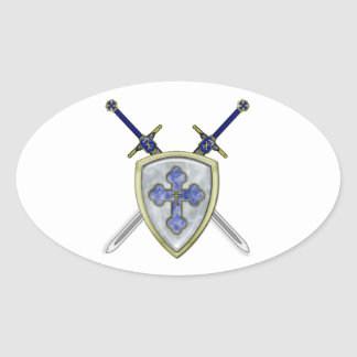 St Michael - Swords and Shield Oval Sticker