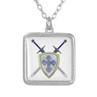 St Michael - Swords and Shield Square Pendant Necklace