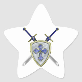 St Michael - Swords and Shield Star Sticker