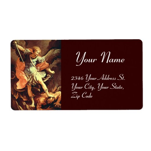 St. Michael the Archangel ,brown Shipping Label